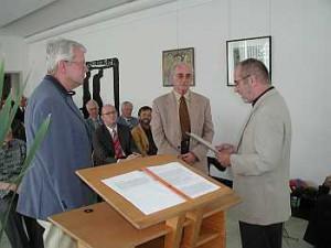 Dieter Weber (rechts), Dr. Horst-Dieter Kreidler (mitte), Walter Denzel (links),
